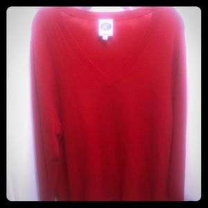 Oh, la,la! 100% cashmere red v-neck sweater!